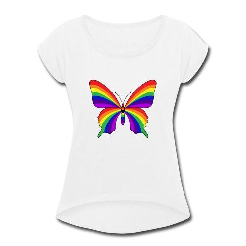 Rainbow Butterfly - Women's Roll Cuff T-Shirt