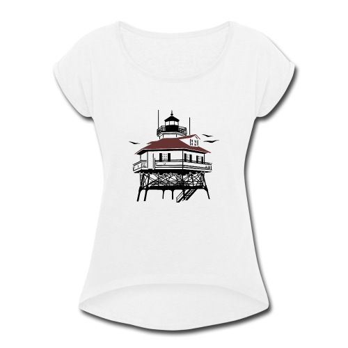 Lighthouse Drawing Illustration - Women's Roll Cuff T-Shirt