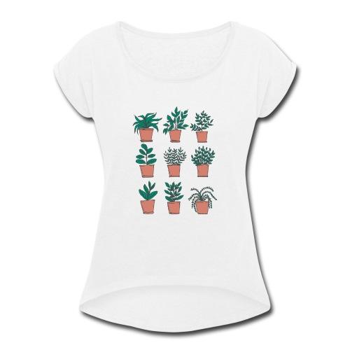 Flowerpots - Women's Roll Cuff T-Shirt