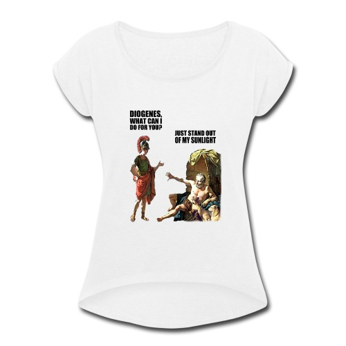 hlalexander and diogene2 black - Women's Roll Cuff T-Shirt