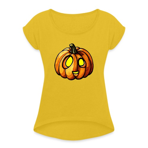 Pumpkin Halloween watercolor scribblesirii - Women's Roll Cuff T-Shirt