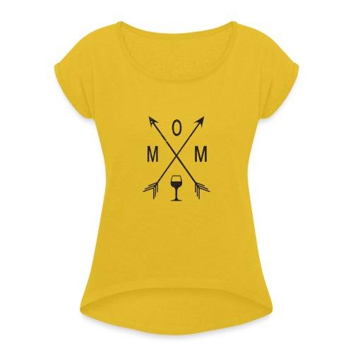Mom Loves Wine (black ink) - Women's Roll Cuff T-Shirt
