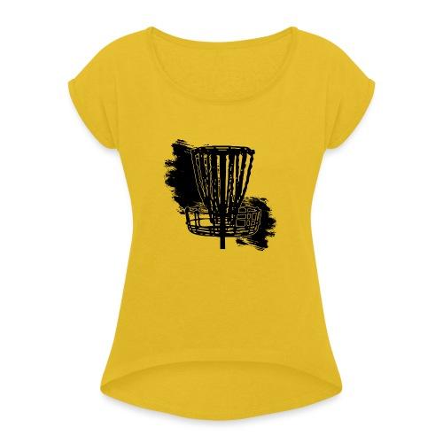 Disc Golf Basket Paint Black Print - Women's Roll Cuff T-Shirt