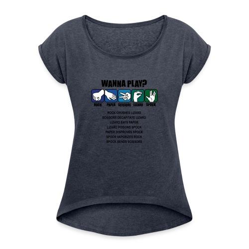 rock paper scissors lizard spock shirt - Women's Roll Cuff T-Shirt
