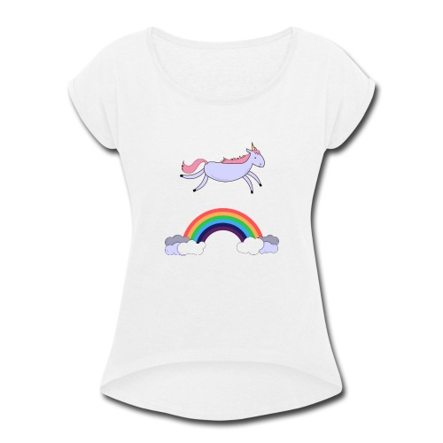 Flying Unicorn - Women's Roll Cuff T-Shirt