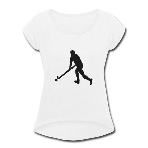 FieldHockeyMaleSilhouette - Women's Roll Cuff T-Shirt