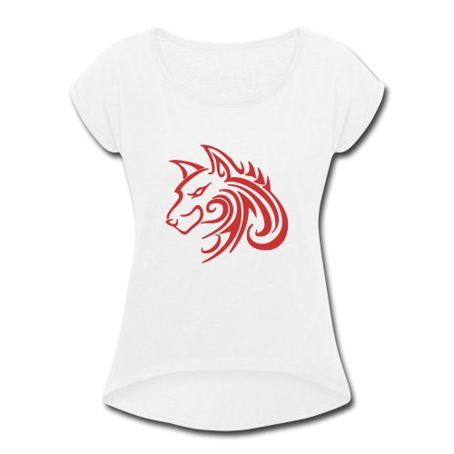 3d31c4ec40ea67a81bf38dcb3d4eeef4 wolf 1 red wolf c - Women's Roll Cuff T-Shirt
