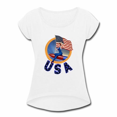 Flag USA - Women's Roll Cuff T-Shirt
