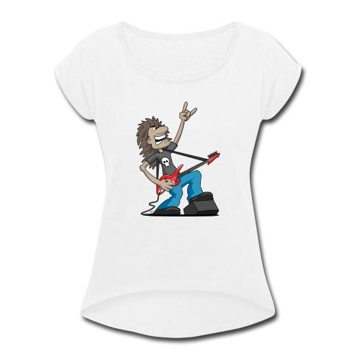 Heavy Metal Rock Guitarist Cartoon - Women's Roll Cuff T-Shirt