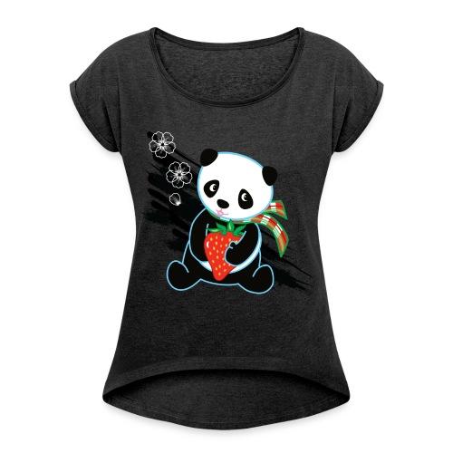 Cute Kawaii Panda T-shirt by Banzai Chicks - Women's Roll Cuff T-Shirt