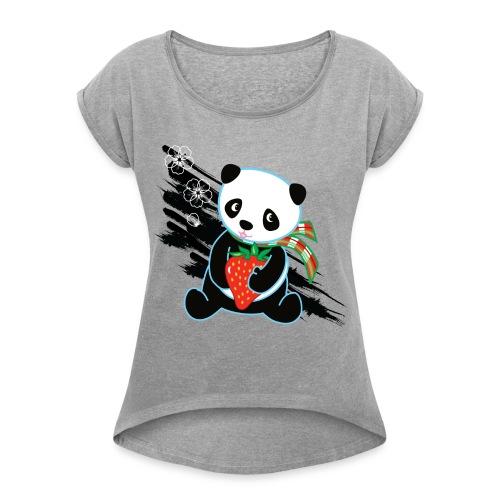 Cute Kawaii Panda T-shirt by Banzai Chicks - Women's Roll Cuff T-Shirt