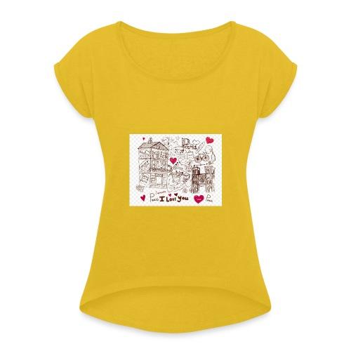 parís lovers - Women's Roll Cuff T-Shirt