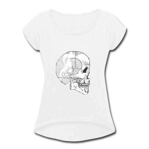 Hashed Skull - Women's Roll Cuff T-Shirt