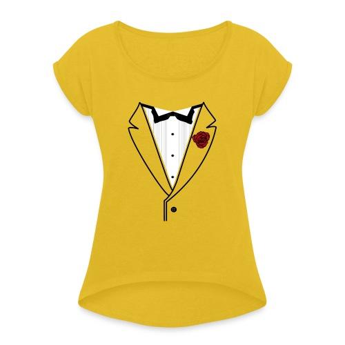 Tuxedo w/Black Lined Lapel - Women's Roll Cuff T-Shirt