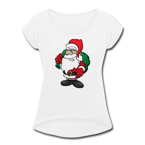 Santa Claus Cartoon Illustration - Women's Roll Cuff T-Shirt