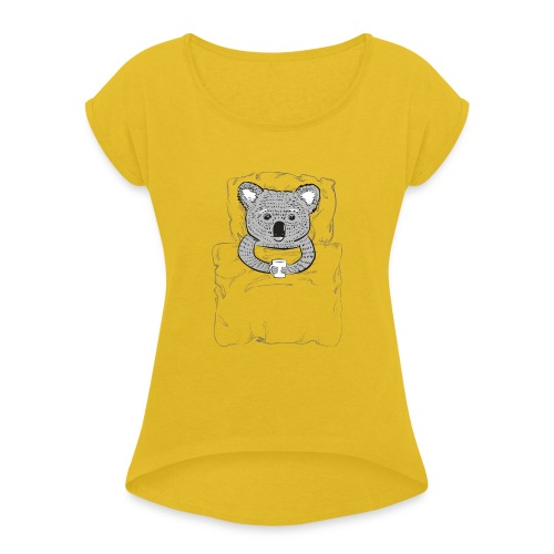 Print With Koala Lying In A Bed - Women's Roll Cuff T-Shirt