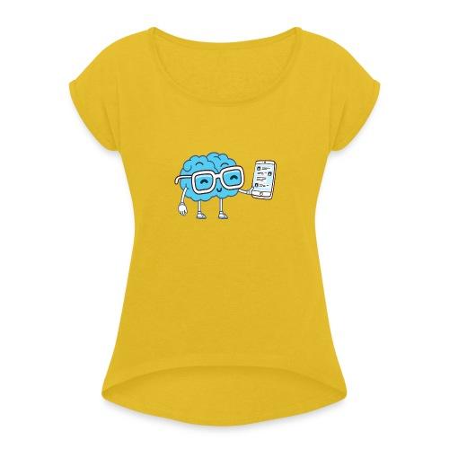 Cartoon Brain - Women's Roll Cuff T-Shirt
