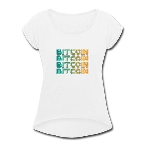 Bitcoin Art Deco Tshirt - Women's Roll Cuff T-Shirt