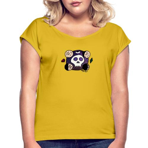 Moon Skull from Outer Space - Women's Roll Cuff T-Shirt