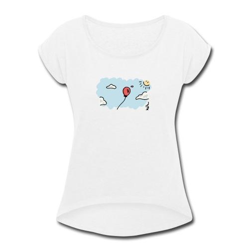 Balloon in Love - Women's Roll Cuff T-Shirt