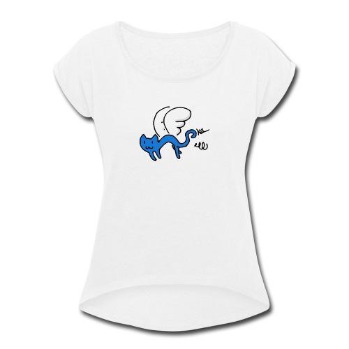 Flying Kitty - Women's Roll Cuff T-Shirt