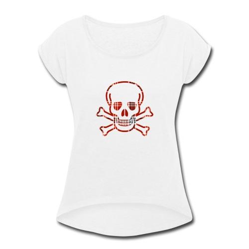 Skull & Cross Bones Red Plaid - Women's Roll Cuff T-Shirt