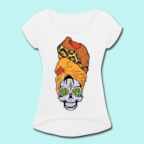 ERYKAH BADU SKULLY - Women's Roll Cuff T-Shirt