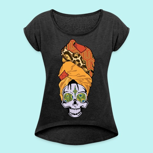 ERYKAH BADU SKULLY - Women's Roll Cuff T-Shirt
