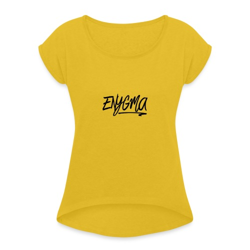 Enygma Black Original - Women's Roll Cuff T-Shirt