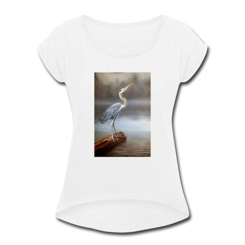 Blue Heron Wildlife Painting Print - Women's Roll Cuff T-Shirt