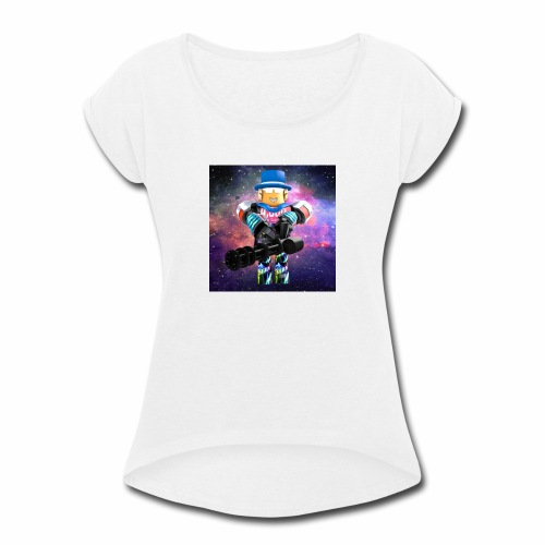 sean roblox character with minigun - Women's Roll Cuff T-Shirt