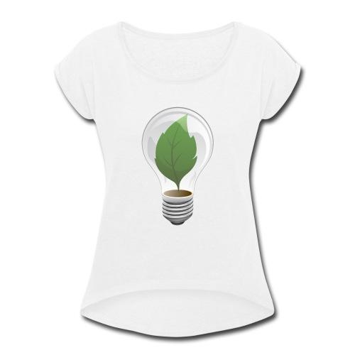 Clean Energy Green Leaf Illustration - Women's Roll Cuff T-Shirt