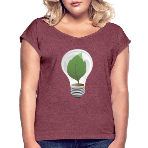 Clean Energy Green Leaf Illustration - Women's Roll Cuff T-Shirt