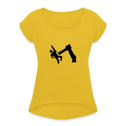 Robot Wins! - Women's Roll Cuff T-Shirt