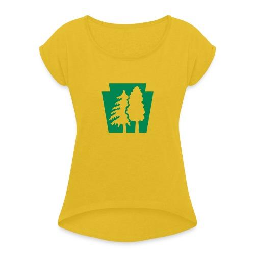 PA Keystone w/trees - Women's Roll Cuff T-Shirt