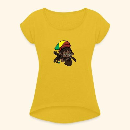 Rasta Ricky Head Logo - Women's Roll Cuff T-Shirt