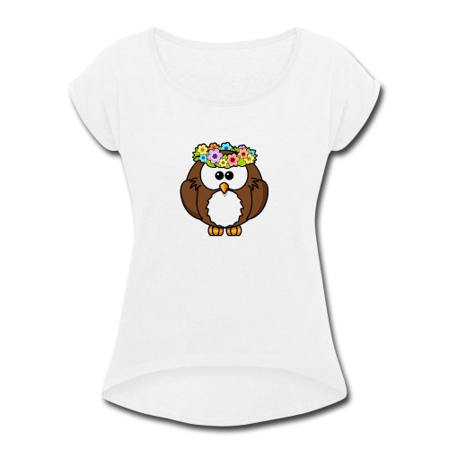 Owl With Flowers On Head T-Shirt - Women's Roll Cuff T-Shirt