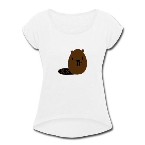Cute Beaver - Women's Roll Cuff T-Shirt