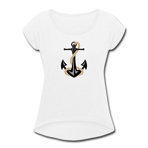 Classic Nautical Anchor and Rope Design - Women's Roll Cuff T-Shirt