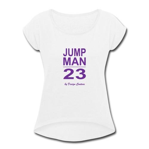 JUMP MAN 23 PURPLE - Women's Roll Cuff T-Shirt