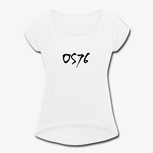 OS76 TYPE BLACK w OUTLINE - Women's Roll Cuff T-Shirt