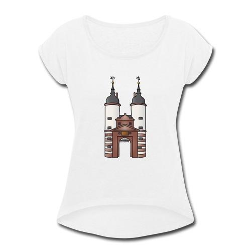 Bridge gate Heidelberg, FRG - Women's Roll Cuff T-Shirt