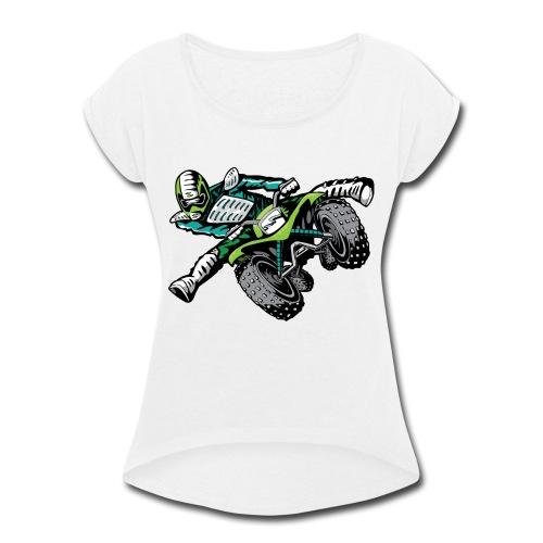 ATV Freestyle Quad Green - Women's Roll Cuff T-Shirt