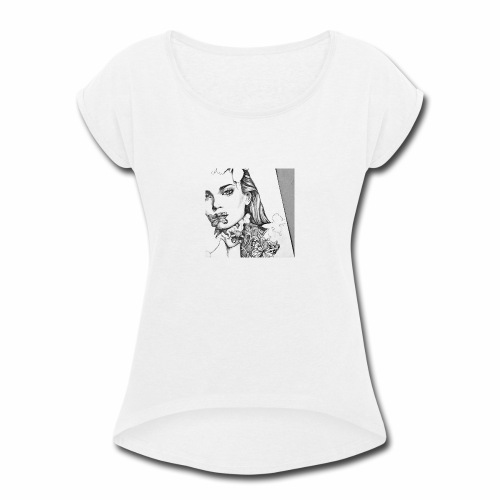 beauty cute drawing flowers Favim com 2864595 - Women's Roll Cuff T-Shirt