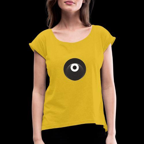 Black Dirt Vortex Logo Dark - Women's Roll Cuff T-Shirt