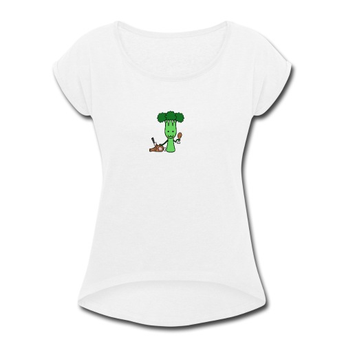 Carnivorous Broccoli - Women's Roll Cuff T-Shirt