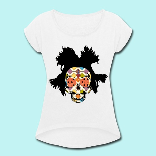 BASQUIAT SKULLY - Women's Roll Cuff T-Shirt