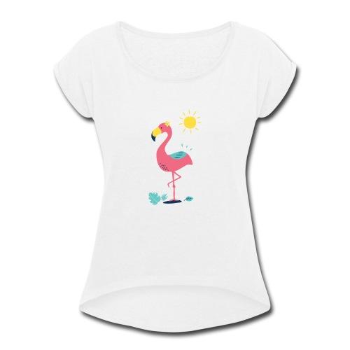Khodeco design flamingo - Women's Roll Cuff T-Shirt