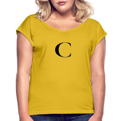 Large Cliche Magazine Black C Logo - Women's Roll Cuff T-Shirt