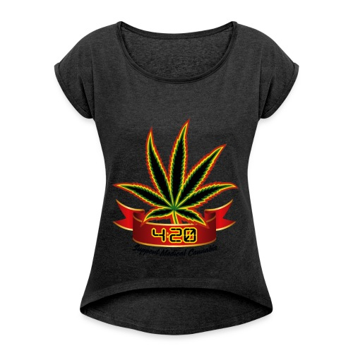 support_medical_cannabis_420 - Women's Roll Cuff T-Shirt